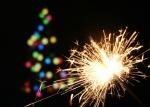 sparkler and christmas tree